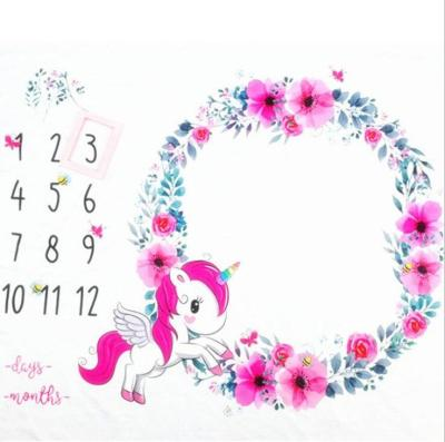 100x120cm Baby Milestone Blanket unicorn garland Photography Props Backdrop Cloth Infant Monthly Growth Photo Shooting