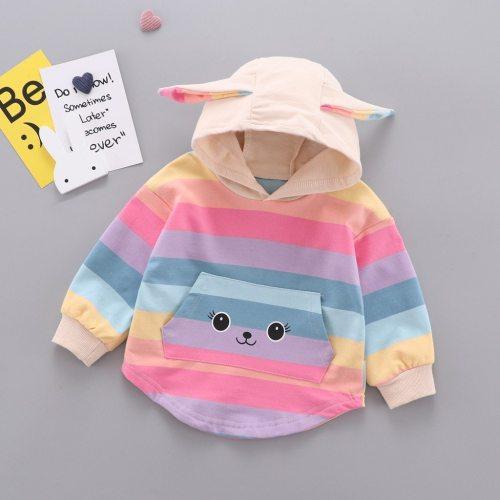 Trendy Fall Sweatshirt Kids Infant Baby Girls Rainbow 3D Rabbit Ear Print Sweatshirts