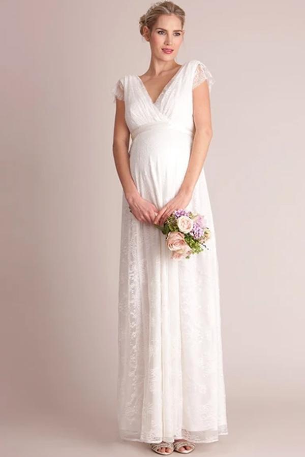 White Lace Casual Maternity Photo Shoot Dress
