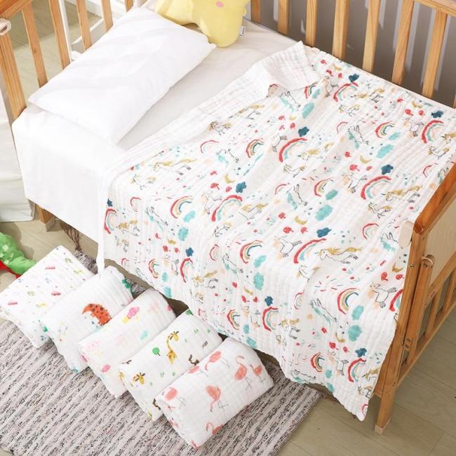 Baby Blanket & Swaddling Newborn Gauze Soft Blanket Solid Bedding Set Cotton Quilt 6 layer 110x110cm baby towel