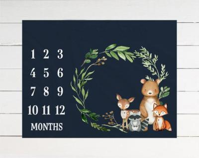 100x75cm Baby Monthly Milestone Blankets Soft Flannel Thermal Stroller Sleep Cover Background Photography Props Newborn Swaddle