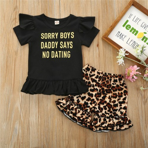 Toddler Kids Baby Girls 2020 new Letter Print Tops+Leopard Ruffles Shorts Set Outfits baby girl clothes