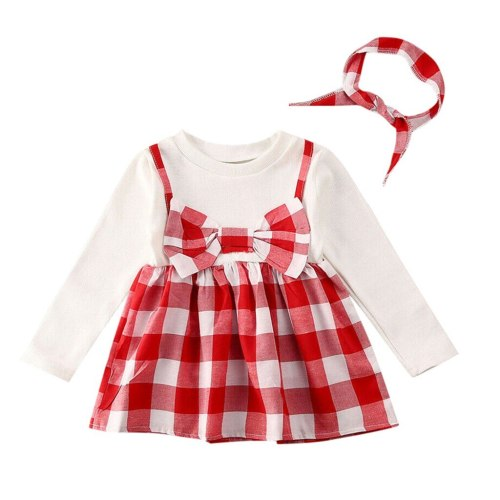 Baby Long Sleeve Plaid Print Dress+Headband Set new Girls Long Sleeve Plaid Princess Party Dress+Headbands Outfit
