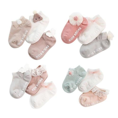 Summer 0-3 T Toddler Solid  Lace Bow Socks Kids Baby Boys Girls Cotton Breathable Anti Slip Indoor Walk Short Socks