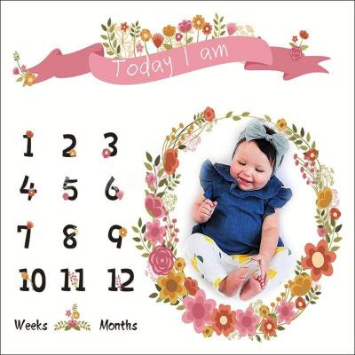 Nordic Baby Milestone Blanket Cartoon Newborn Photography Background Cloth