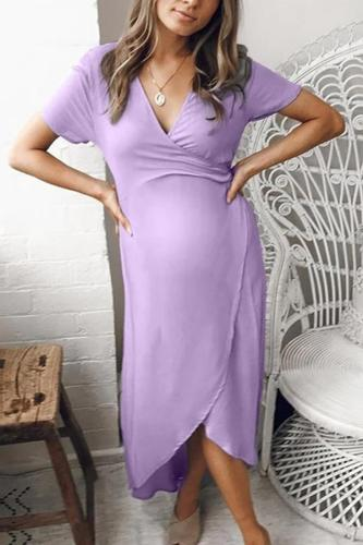 2020 New Women's Fashion maternity dresses Short Sleeve V Neck Summer Maternity Dress