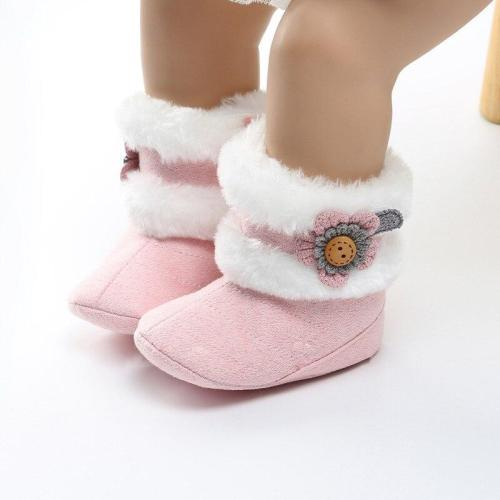 Fashion Winter Baby Boots Soft Plush Ball Booties for Infant girls Anti Slip Snow Boot keep Warm Cute Crib shoes