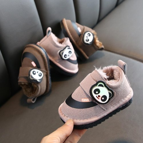 Fashion baby Children snow shoes winter plus velvet warm shoes cartoon LED light children cotton baby girl shoes#guahao