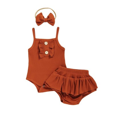 Toddler Baby Girl Clothes Set Clothes Solid Suspender Romper Bodysuit+Floral Print Shorts Outfits