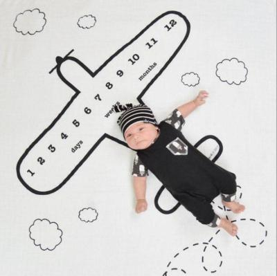 Newborn Baby Milestone Blanket Photography Props Background Cloth Airplane Printed Infant Camera Blanket
