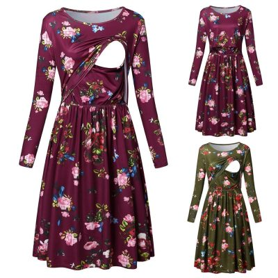 Maternity dresses Women Pregnant Nusring Maternity Long Sleeve Print Floral O-Neck pregnancy dress
