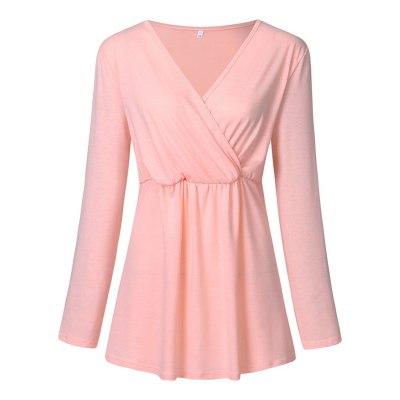 Fashion Women Maternity Long Sleeve Solid Color Nursing Tops Shirt