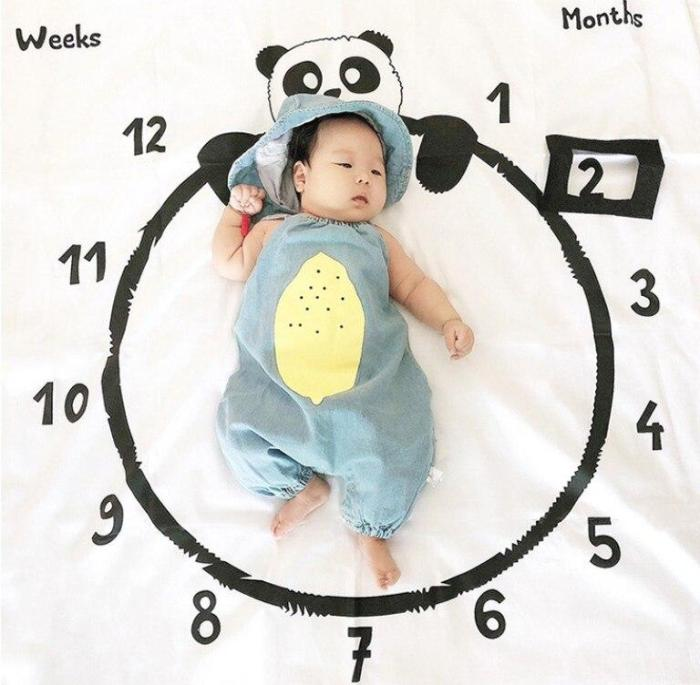 Milestone Blanket Panda Print Photography Week Monthly Growth Background Shooting Props