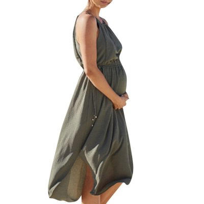 New Style Solid Color Sleeveless Maternity Dress