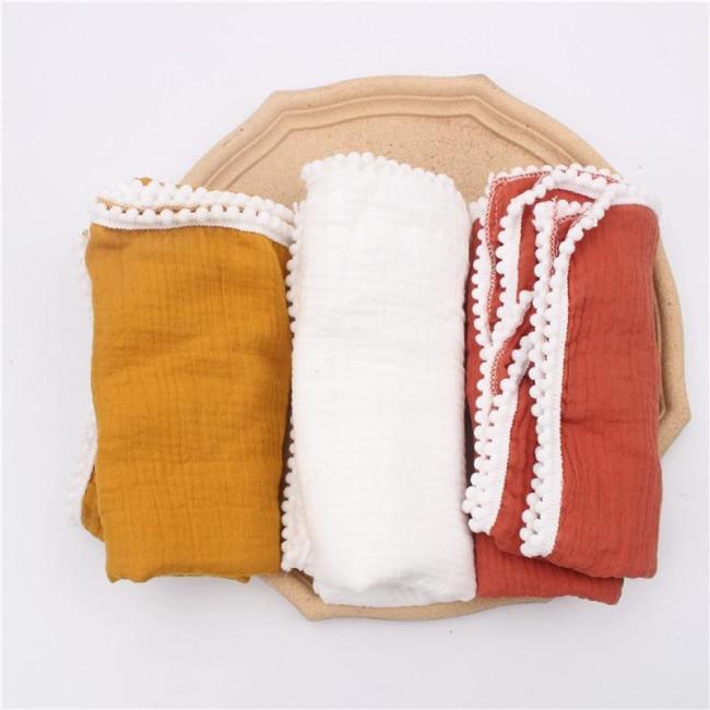 Cotton Pom pom Tassel Baby Swaddle Wraps Infant Stroller Cover Muslin Swaddle Blankets Newborn Blanket Bath Gauze Towel