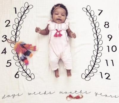 Newborn baby Monthly Growth Milestone photography Cloth Rug Background Blanket Commemorate props