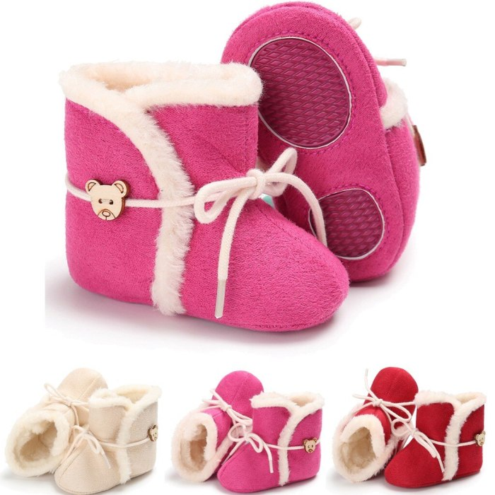 Fashion baby girl shoes winter Tie Toddler Kid Baby Girls Cute Toddler First Walk Winter Warm Shoes
