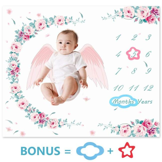 100x120cm Baby Milestone Blanket Thermal Soft Fleece Swaddle Stroller Wraps Newborn Floral Photography Props Background Cloth
