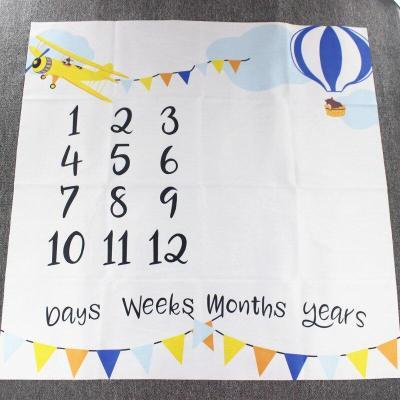 Baby Monthly Milestone Anniversary Blanket Newborns Photo Props Growth Souvenir Blanket Photograph Background Cloth 100x100cm