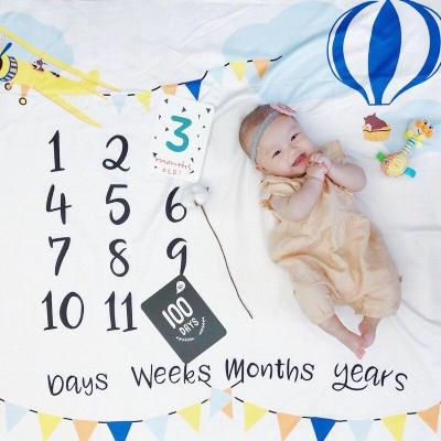 Floral Printed Baby Milestone Blanket Photography Photo Props Newborns Infant Growth Monthly Backdrop Cloth Commemorative