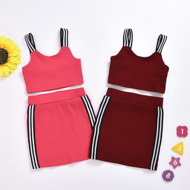 Fashion baby girl clothes summer Sleeveless Set Sling Off Shoulder Tops+skirts Casual Outfits