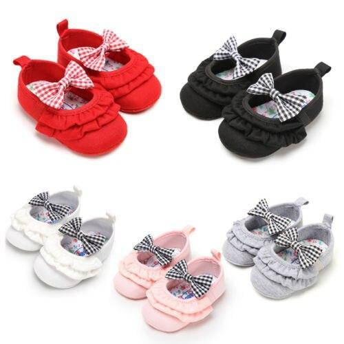 Newborn Kids Baby Girl Cute Princess Bowknot Cribe Shoes Soft Sole Casual Prewalker Shoes 0-18M