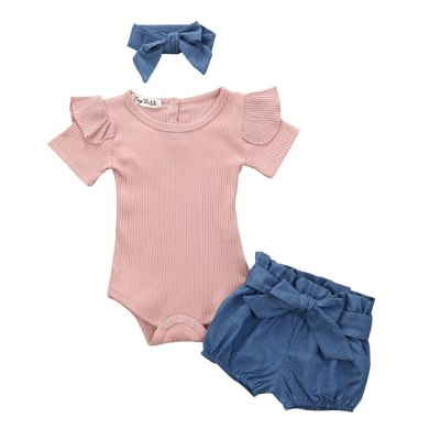 3Pcs Infant Baby Girls Clothes Set Solid Ruffle Romper Jumpsuit Denim Shorts Outfits 2020