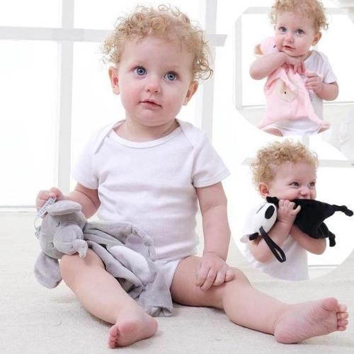 Baby Towels Newborn Rattles Animal Bear/Rabbit Plush Dolls Soft Security Blanket Bed bells Baby Comfort Saliva Towel Baby Toys
