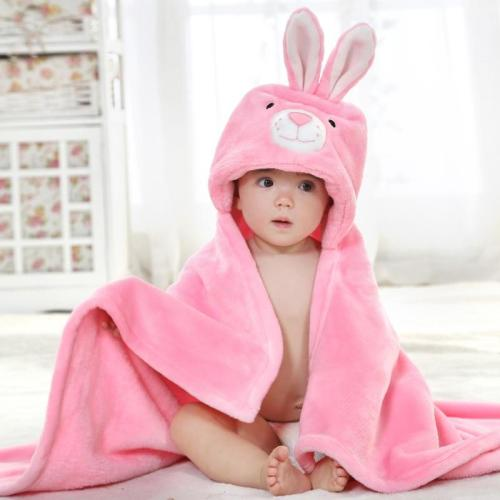 Rabbit Cartoon New Born Baby Towel Bath Soft Flannel Towel Bathrobe Wash Bath Towel Toalla kids Towels