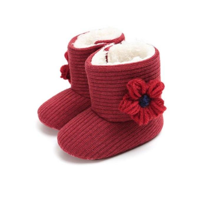 Baby Kid Boys Girls Knitted Fur Boots 5 Colors Toddlers Soft Sole Short Warm Soft Snow Boys Girls Boots Shoes 0-18 Months