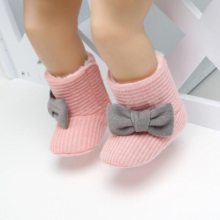 Fashion Baby Girls Boot Newborn Winter Warm Knit Boots Toddler Infant Soft Sole Shoes Flower Baby Shoes 0-18M