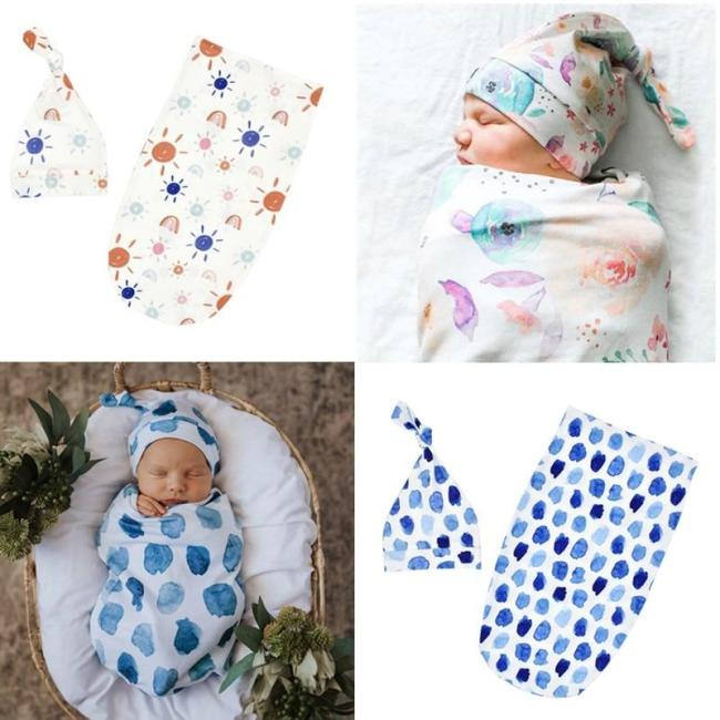 0-3months Newborn Baby Sage Swaddle and Top Knot Hat 2pcs Set Infant Printed Swaddle Wrap Sleep Sack Kids Photography Props