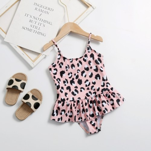 Hot sale baby swimwear summer Kids Girls Leopard Print Straps Ruffle One Piece Swimsuit Swimwear