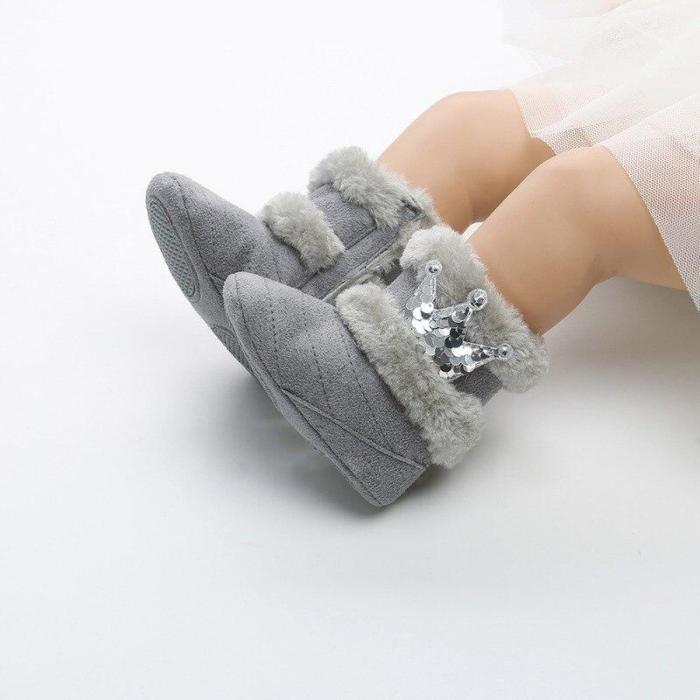 Fashion Newborn Infant Baby Girls Winter Warm Casual Boots Crown Fur Mid-Calf Length Slip-On Furry Baby Shoes 0-18M