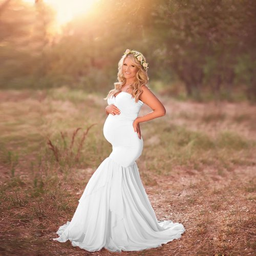 Solid Color Lace Buttom Soft Maternity Photo Shoot Dress
