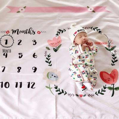 Floral Print Baby Milestone Blanket Photography Monthly Background Cloth DIY Infant Kids Photo Props