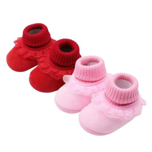 booties baby Newborn fashion baby girl warm woolen yarn booties with flower toddler girls high boots prewalker