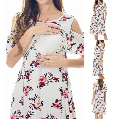 Elegant Women pregnancy dress Maternity Nursing Solid Breastfeeding Summer Maternity Dresses