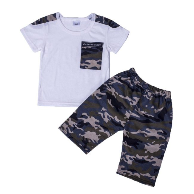 Teen Kids Baby Boys Letter Tracksuit Camouflage Tops Shorts 2PCS Outfits Set Costume For Boy Summer