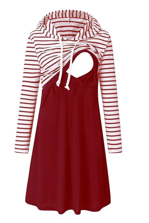 Pregnancy dress Women Maternity Long Sleeve Striped Nursing Dress For Breastfeeding With Hooded