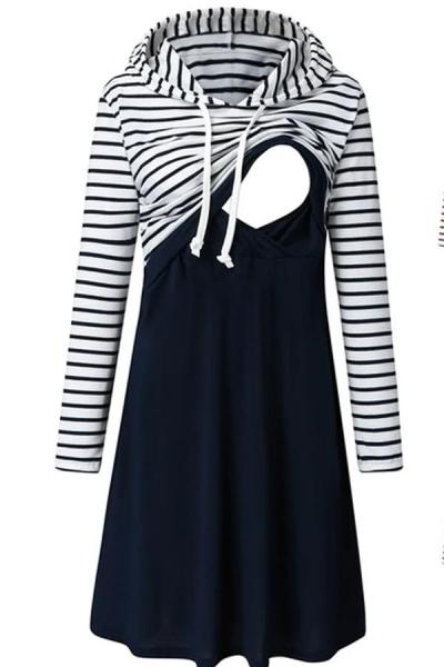 Pregnancy dress Women Maternity Long Sleeve Striped Nursing Dress For Breastfeeding With Hooded