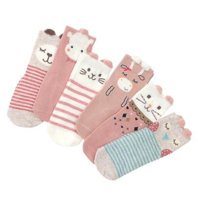 6 Pair/Set Autumn Newborn Warm Socks Cute Cartoon 100% Cotton Baby Socks No-slip Infant Cotton Soft Socks