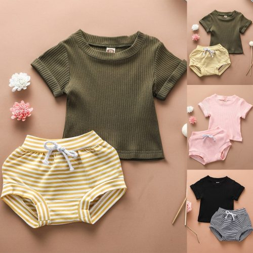 Newborn Baby Boys Toddler Outfits Girl Short Sleeve Summer Solid Tops+Stripe Shorts Outfits Set Summer Clothes