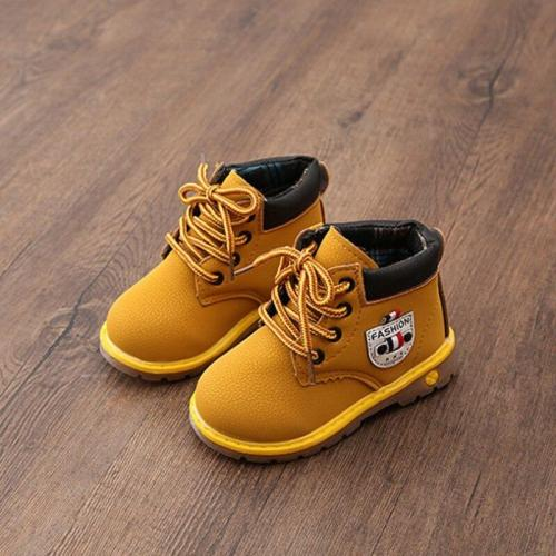 Winter PU Leather Kids Baby Girl Boys Shoes Boots Waterproof Breathable Low-Heeled Ankle Shoes casually
