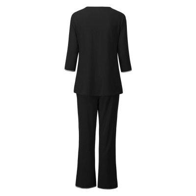 Women Maternity Long Sleeve Nursing Baby T-shirt Tops+Pants Pajamas Set