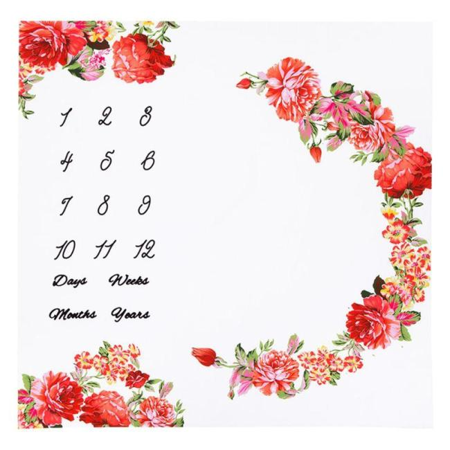 Newborn Baby Milestone Number Flower Pattern Mat Blanket Photography Background Backdrop Cloth  1 Pc