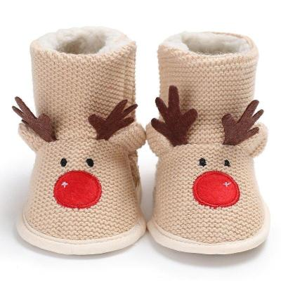 Fashion Christmas Deer Winter Baby Newborns Lovely Warm Shoes First Walkers Baby Boy Shoes Sweaters Boots Booty For 0-1 Year