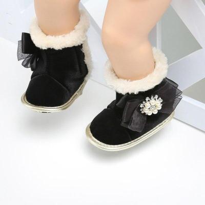 Winter Baby Snow Boots Kids Flock Soft Bottom With Cute Flower Moccasins Boots Newborn Baby Toddler Super Warm