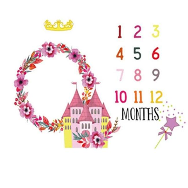 Newborn Baby Milestone Blanket Floral Castle Backdrop Cloth Photography Props Soft Flannel Growth Monthly Shower Swaddle Wraps