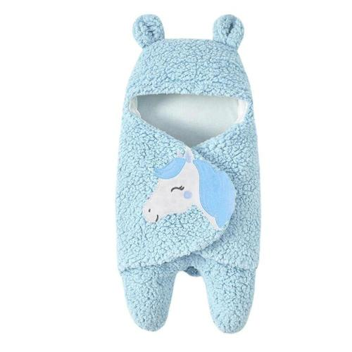 Newborn Baby Cartoon Horse Receiving White Sleeping Blanket Girl Wrap Swaddle